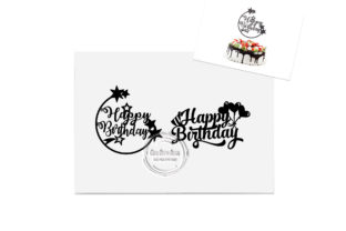 Print on Demand: 2 X Happy Birthday Cake Topper Set 4 Graphic Crafts By CarryBeautySVG