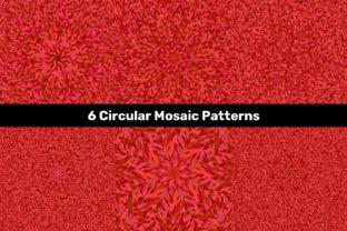6 Red Circular Mosaic Patterns Graphic Backgrounds By davidzydd