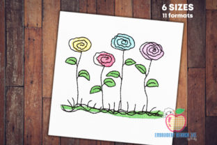 Abstract Flowers Quick Stitch Single Flowers & Plants Embroidery Design By embroiderydesigns101