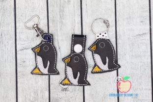 Adelie Penguin Keyfob Keychain ITH Baby Animals Embroidery Design By embroiderydesigns101