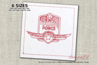 Air Force Badge with Wings and Star Military Embroidery Design By Redwork101