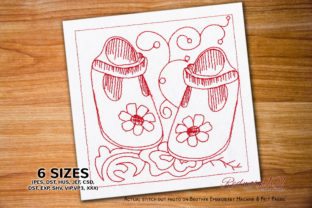 Baby Shoes for New Born Baby Redwork Clothing Embroidery Design By Redwork101
