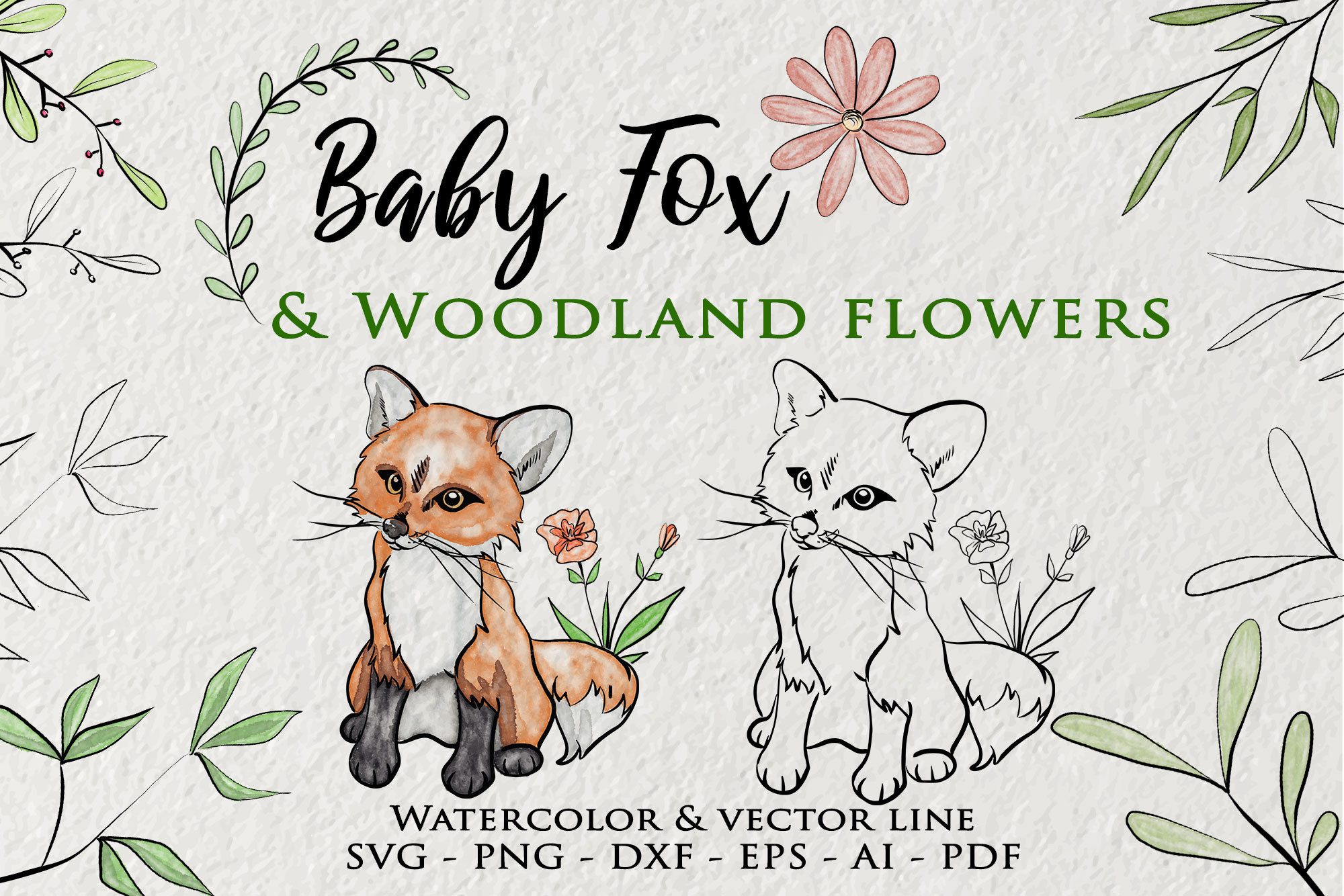 Baby Fox Clipart Woodland Flower SVG File