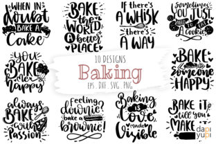 Print on Demand: Baking Quotes Bundle, Kitchen Quotes SVG Graphic Crafts By dapiyupi
