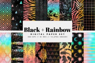 Black & Rainbow Digital Paper Graphic Backgrounds By Afrin_Art