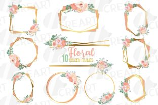 Print on Demand: Blush and Gold Watercolour Floral Frames Graphic Print Templates By CreartGraphics
