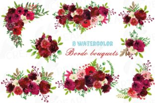 Print on Demand: Boho Burgundy Floral Bouquets Clip Art Graphic Print Templates By CreartGraphics