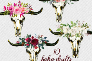 Bull Skulls Clipart, Bohemian Clipart Graphic Illustrations By Aneta Design