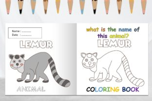 Coloring Book Animal with Name - Lemur Graphic Coloring Pages & Books Kids By 57creative