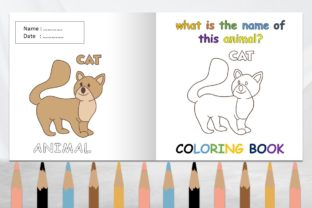 Coloring Book Animal Kids with Name Cat Graphic Coloring Pages & Books Kids By 57creative