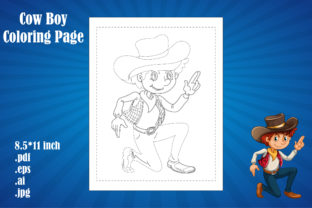Print on Demand: Cow Boy Coloring Page Kids Part 3 Graphic Coloring Pages & Books By Day Dreamer