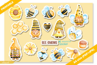 Cute Bee Gnome Printable Sticker Graphic Crafts By Apixsala