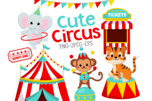 Print on Demand: Cute Circus Clipart Set Graphic Illustrations By DigitalPapers