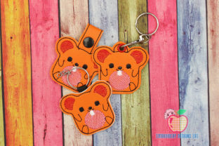Cute Dormouse ITH Keyfob Design Farm Animals Embroidery Design By embroiderydesigns101