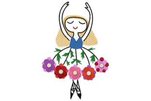 Dancing Ballerina Floral Dress Dance & Drama Embroidery Design By Dizzy Embroidery Designs
