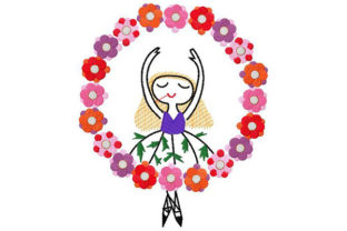 Dancing Ballerina with Floral Crown Dance & Drama Embroidery Design By Dizzy Embroidery Designs