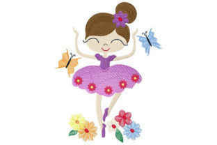 Print on Demand: Girl Dancing with Butterflies Dance & Drama Embroidery Design By Dizzy Embroidery Designs