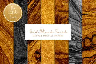 Print on Demand: Gold & Black Paint Swirl Textures Graphic Backgrounds By daphnepopuliers