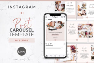 Instagram Post Carousel for Canva   Pink Graphic Graphic Templates By Thirty One Palms Studio