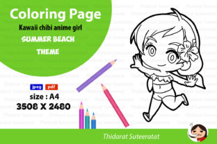 Kawaii Anime Girl - Coloring Page- No.16 Graphic Coloring Pages & Books By thidarat.suteeratat