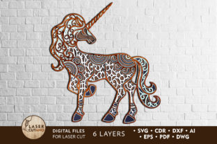 Print on Demand: Multilayer Laser Cut File UNICORN Graphic 3D SVG By LaserCutano