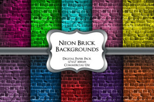 Print on Demand: Neon Brick Backgrounds Digital Papers Graphic Backgrounds By Party Pixelz