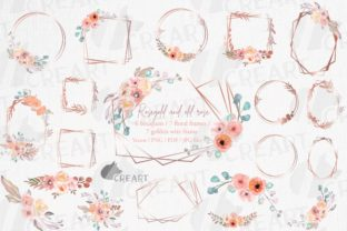 Print on Demand: Old Rose Floral Golden Bridal Templates Graphic Print Templates By CreartGraphics
