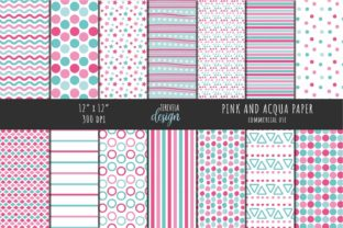 PINK and ACQUA PATTERN Graphic Patterns By TereVela Design