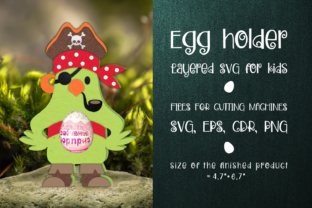 Print on Demand: Pirate Parrot - Chocolate Egg Holder Graphic 3D SVG By Olga Belova