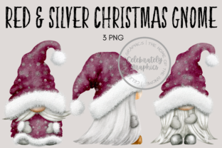 Red Silver Christmas Gnomes Graphic Illustrations By Celebrately Graphics