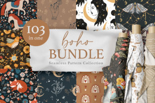 Print on Demand: Seamless Boho Pattern Bundle. Graphic Patterns By Red Ink
