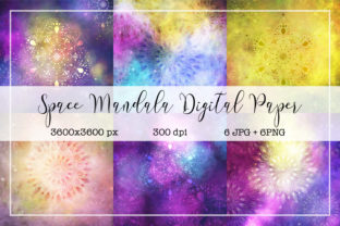 Space Mandala Digital Paper Pack Graphic Backgrounds By KaSia Design