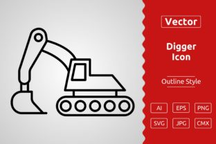 Print on Demand: Vector Digger Outline Icon Design Graphic Icons By Muhammad Atiq