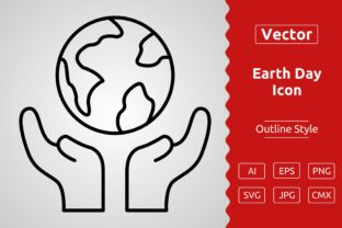 Print on Demand: Vector Earth Day Outline Icon Design Graphic Icons By Muhammad Atiq