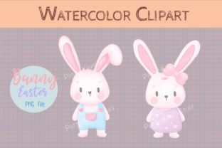 Watercolor Cute Bunny Boy Girl Easter Graphic Illustrations By Pattiokawaiistuff