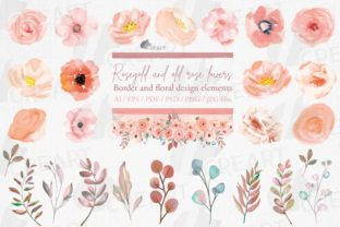 Print on Demand: Watercolor Old Rose Floral Decor Element Graphic Print Templates By CreartGraphics