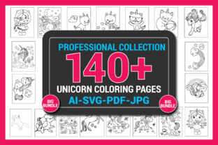140+ Unicorn Coloring Pages for Kids Graphic KDP Interiors By Sharif54