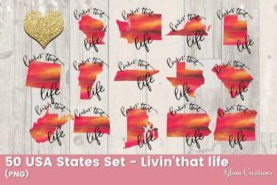 50 USA States Set - Livin' That Life Grafik Illustrationen von Glam Creations