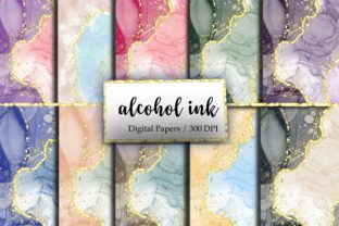 Alcohol Ink Gold Glitter Digital Papers. Graphic Backgrounds By Smushies