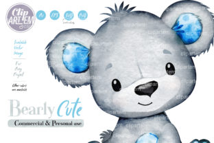 Print on Demand: Baby Boy Teddy Bear Blue Gray Clip Art Graphic Illustrations By clipArtem