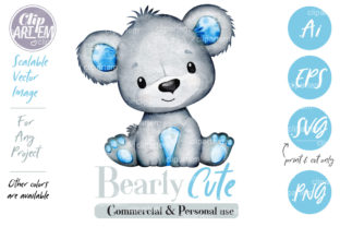 Print on Demand: Baby Boy Teddy Bear Blue Gray Clip Art Graphic Illustrations By clipArtem 2