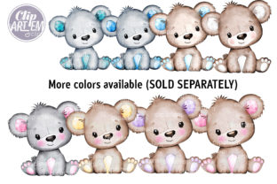 Print on Demand: Baby Boy Teddy Bear Blue Gray Clip Art Graphic Illustrations By clipArtem 3
