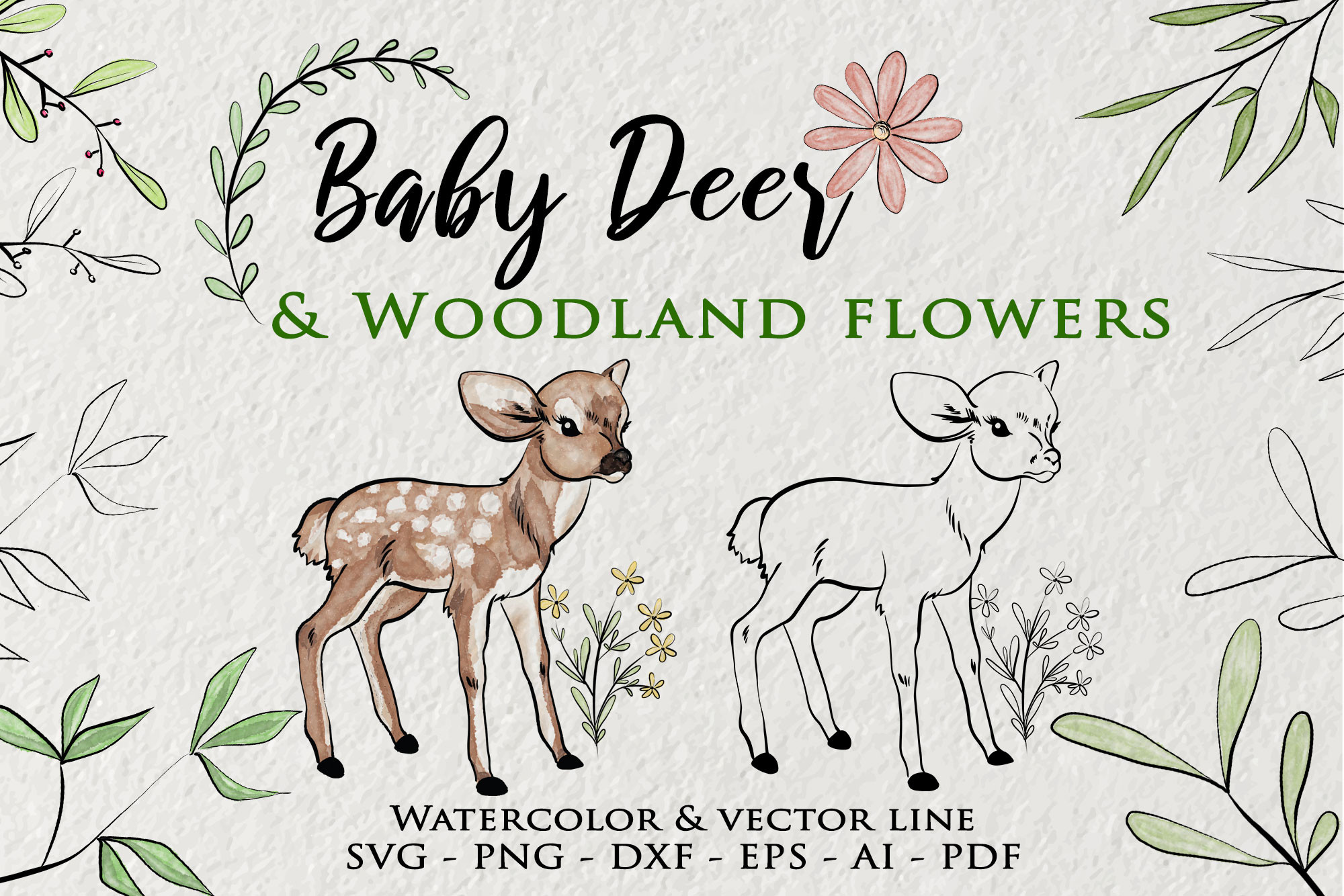 Baby Deer Clipart, Watercolor Woodland SVG File