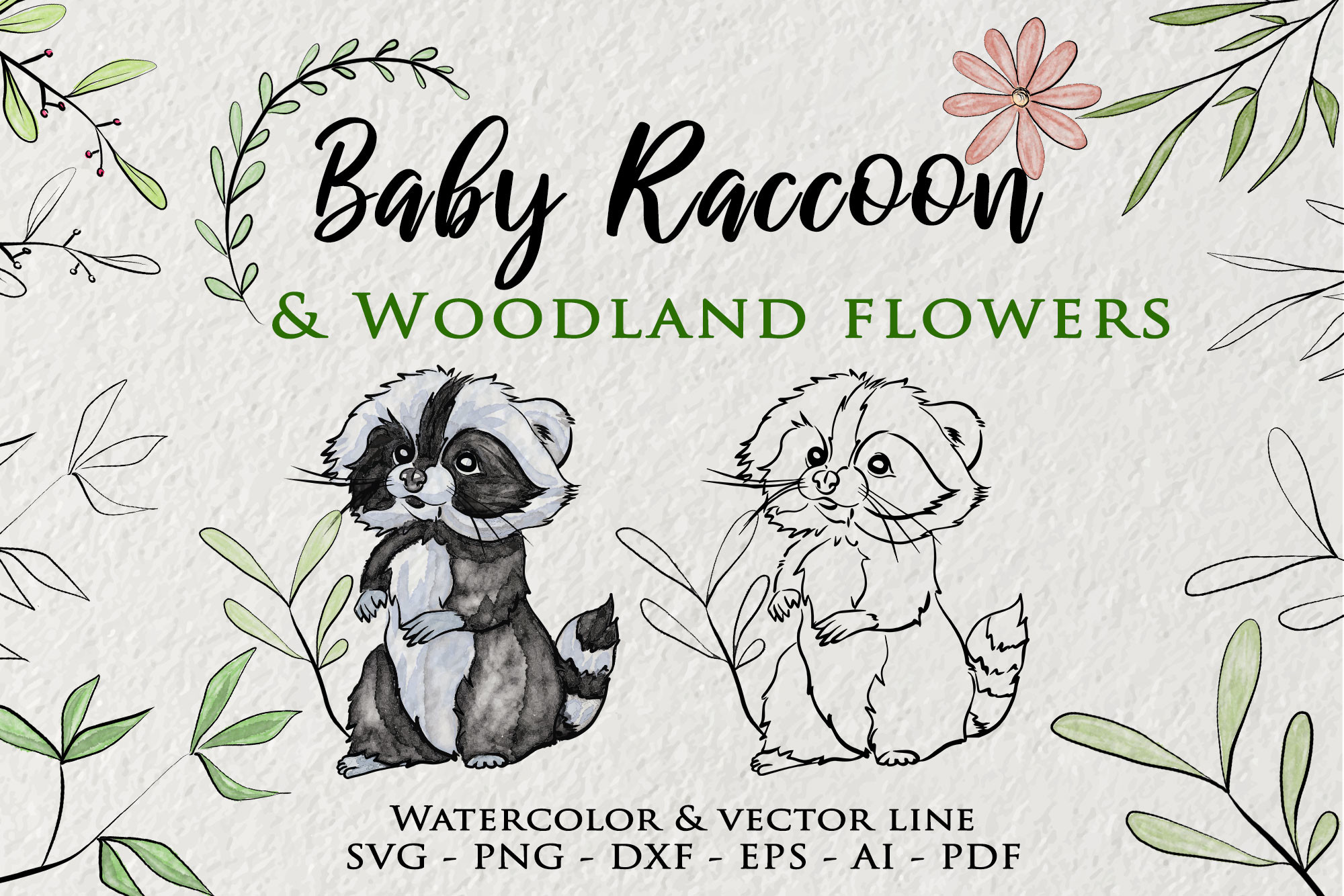 Baby Raccoon Clipart Watercolor Woodland SVG File