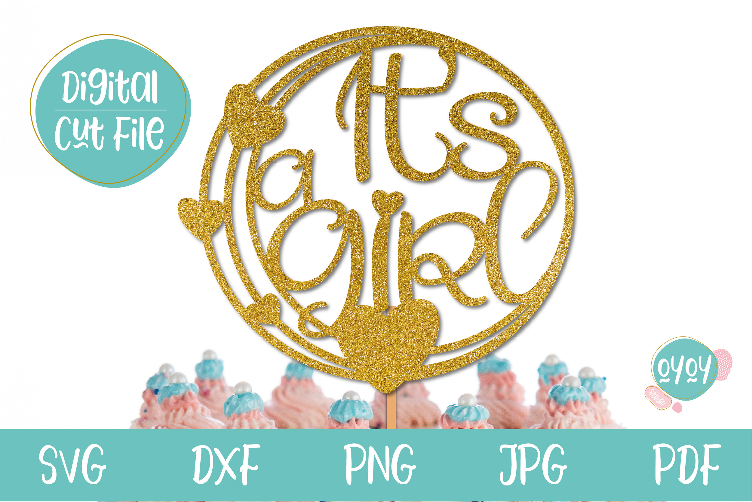 Baby Shower It's a Girl Cake Topper... SVG File