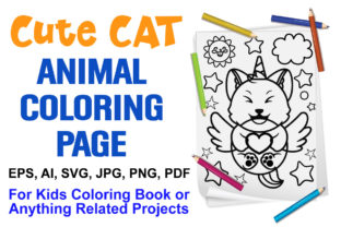 Cute Cat Animal Coloring Page for Kids Graphic Coloring Pages & Books Kids By XpertDesigner