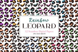 Digital Seamless Paper Rainbow Leopard Graphic Patterns By Sweet Shop Design
