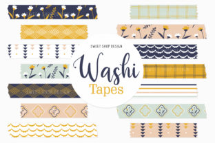 Digital Washi Tape BOHO FLORAL Graphic Illustrations By Sweet Shop Design