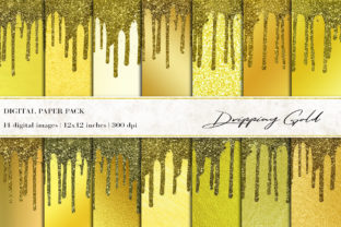 Dripping Gold Digital Papers Graphic Backgrounds By BonaDesigns