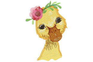 Duck Wearing a Rose on Her Head Birds Embroidery Design By Dizzy Embroidery Designs